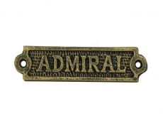 Antique Gold Cast Iron Admiral Sign 6