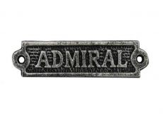 Antique Silver Cast Iron Admiral Sign 6