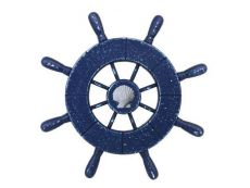 Rustic All Dark Blue Decorative Ship Wheel With Seashell 9