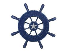 Rustic All Dark Blue Decorative Ship Wheel With Starfish 9