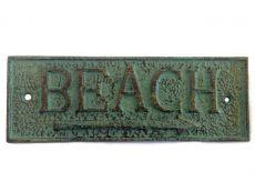 Antique Seaworn Bronze Cast Iron Beach Sign 9