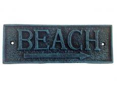 Seaworn Blue Cast Iron Beach Sign 9
