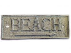 Whitewashed Cast Iron Beach Sign 9