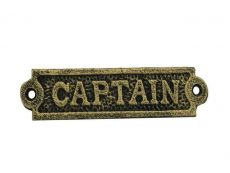 Antique Gold Cast Iron Captain Sign 6