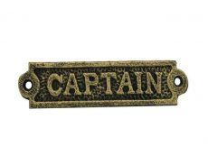 Antique Gold Cast Iron Captain Sign 6