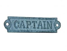 Light Blue Whitewashed Cast Iron Captain Sign 6