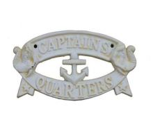 Antique White Cast Iron Captains Quarters Sign 8\