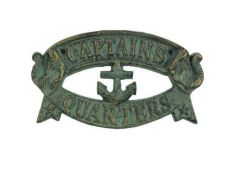 Antique Seaworn Bronze Cast Iron Captains Quarters Sign 8