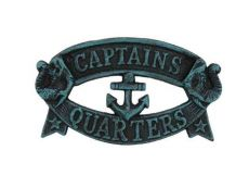 Seaworn Blue Cast Iron Captains Quarters Sign 8