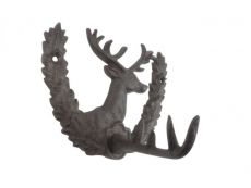 Cast Iron Reindeer with Wreath Decorative Metal Wall Hook 7