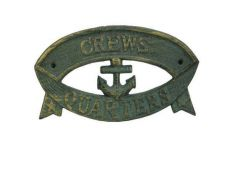 Antique Seaworn Bronze Cast Iron Crews Quarters Sign 8