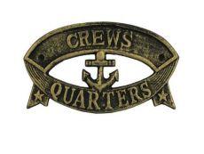 Antique Gold Cast Iron Crews Quarters Sign 8