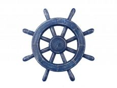 Rustic All Dark Blue Decorative Ship Wheel 12\