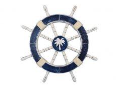 Rustic Dark Blue Decorative Ship Wheel with Palm Tree 18