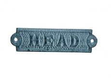Light Blue Whitewashed Cast Iron Head Sign 6