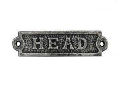 Antique Silver Cast Iron Head Sign 6