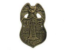 Antique Gold Cast Iron US Lighthouse Service Sign 9