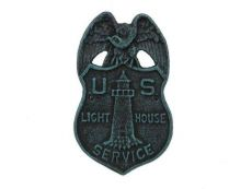 Seaworn Blue Cast Iron US Lighthouse Service Sign 9\