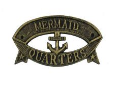 Antique Gold Cast Iron Mermaid Quarters Sign 8