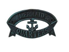 Seaworn Blue Cast Iron Mermaid Quarters Sign 8