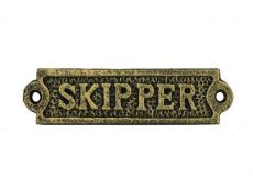 Antique Gold Cast Iron Skipper Sign 6