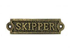 Antique Gold Cast Iron Skipper Sign 6