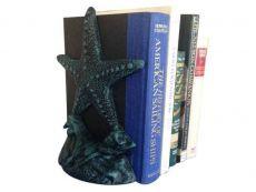 Set of 2- Seaworn Blue Cast Iron Starfish Book Ends 11