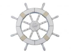 Rustic White Decorative Ship Wheel with Palm Tree 18