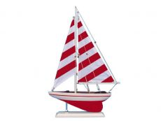 Wooden Red Striped Pacific Sailer Model Sailboat Decoration 25