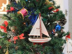 Wooden Red Sailboat Model Christmas Tree Ornament 9