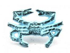 Dark Blue Whitewashed Cast Iron Crab Napkin Ring 2.5 - set of 2