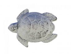 Whitewashed Cast Iron Decorative Turtle Paperweight 4