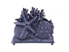 Rustic Dark Blue Cast Iron Seashell Napkin Holder 7