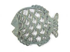 Antique Seaworn Bronze Cast Iron Big Fish Trivet 8