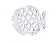Rustic Whitewashed Cast Iron Big Fish Trivet 8