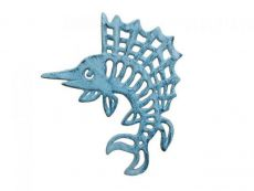Rustic Dark Blue Whitewashed Cast Iron Marlin Trivet 8