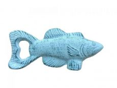 Dark Blue Whitewashed Cast Iron Fish Bottle Opener 5