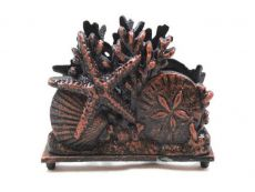 Rustic Copper Cast Iron Seashell Napkin Holder 7