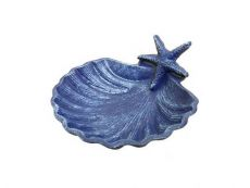 Rustic Dark Blue Cast Iron Shell With Starfish Decorative Bowl 6