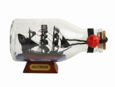 Captain Hooks Jolly Roger from Peter Pan Pirate Ship in a Glass Bottle 5
