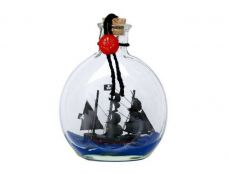Black Pearl Pirate Model Ship in a Glass Bottle Christmas Ornament 4