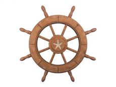 Rustic Wood Finish Decorative Ship Wheel With Starfish 24