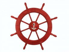 Wooden Rustic Red Decorative Ship Wheel With Anchor 30\