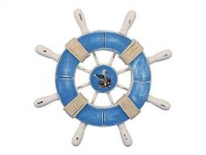 Rustic Light Blue and White Decorative Ship Wheel With Seagull 9