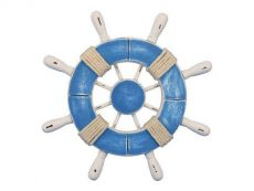 Rustic Light Blue and White Decorative Ship Wheel With 9