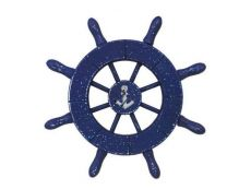 Rustic Dark Blue Decorative Ship Wheel With Anchor 6