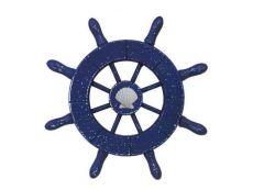 Rustic Dark Blue Decorative Ship Wheel With Seashell  6