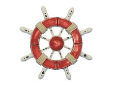 Rustic Red and White Decorative Ship Wheel 6