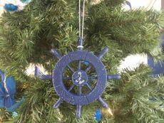 Rustic Dark Blue Decorative Ship Wheel With Anchor Christmas Tree Ornament 6
