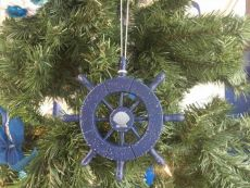 Rustic Dark Blue Decorative Ship Wheel With Seashell Christmas Tree Ornament  6